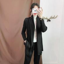 Miyake pleated cardigan coat Slim thin large size female autumn thick scarf collar draped free shipping