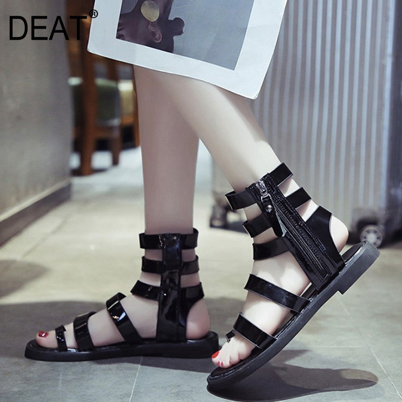 Hollow-Out Casual Sandals Spring DEAT Flat Women Fashion Summer New Band Narrow Zipper