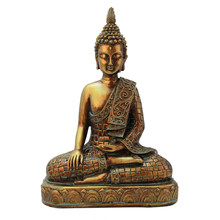 Southeast Asia Tailand Golden Buddha Figurines Decoration Desktop Resin Crafts Vintage Buddha Statue Ornaments Home Decor Gifts(China)