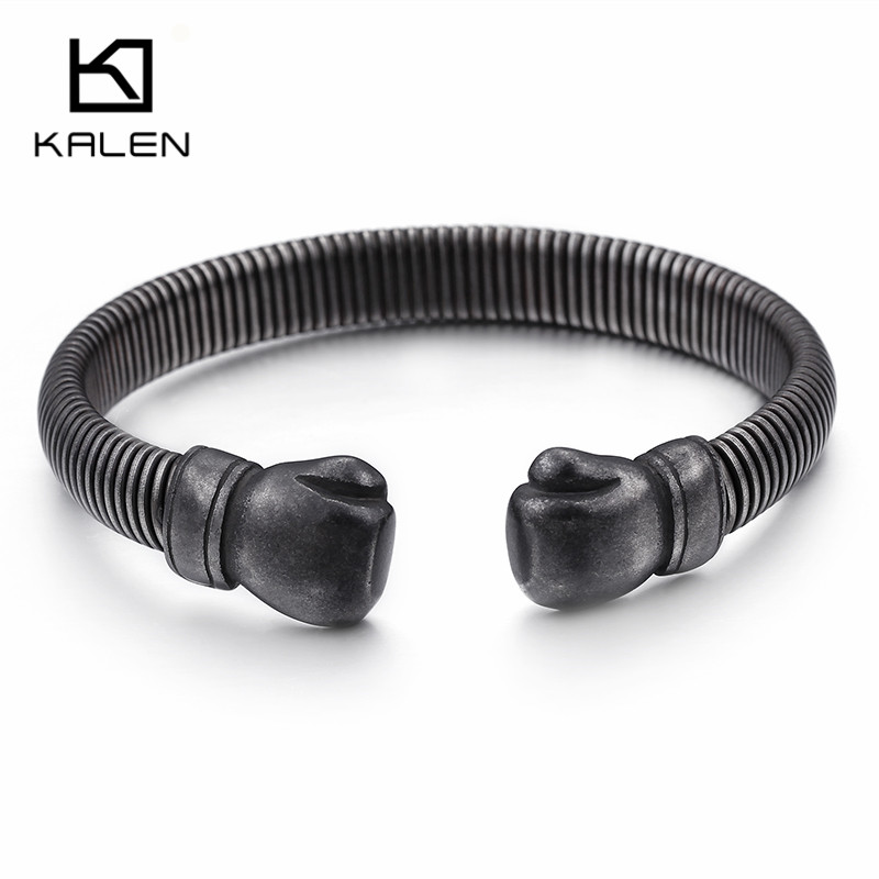 Hip Hop Opening Boxing Gloves Cuff Bangle For Men Stainless Steel Oxidized Dark Matte Mesh Chain Bracelet & Bangle Jewelry