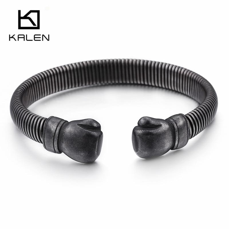 Hip Hop ouverture gants de boxe manchette Bracelet pour hommes acier inoxydable oxydé mat foncé maille chaîne Bracelet & Bracelet bijoux | AliExpress
