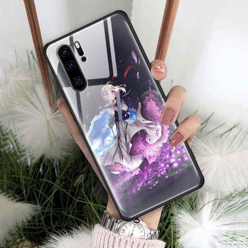 Ánh Trăng Cô Gái Kính Cường Lực Bao Da Ốp Lưng Cho Huawei P30 P20 P20Lite 2019 Danh Dự 9X 9 Xpro 20 20Pro Ốp Lưng vỏ