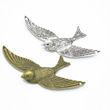10pcs Birds Charms DIY Jewelry Making Pendant Fit Bracelets Necklaces Earrings Handmade Crafts Silver Bronze Charm(China)