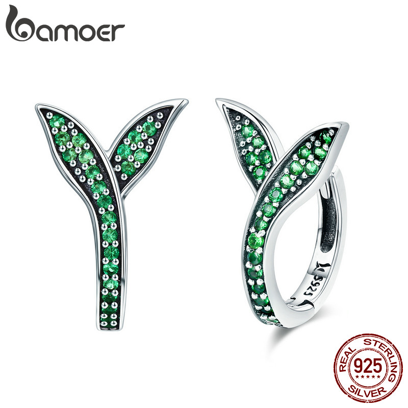 BAMOER 100% 925 Sterling Silver Spring Collection Flower Buds Green CZ Hoop Earrings For Women Sterling Silver Jewelry SCE295