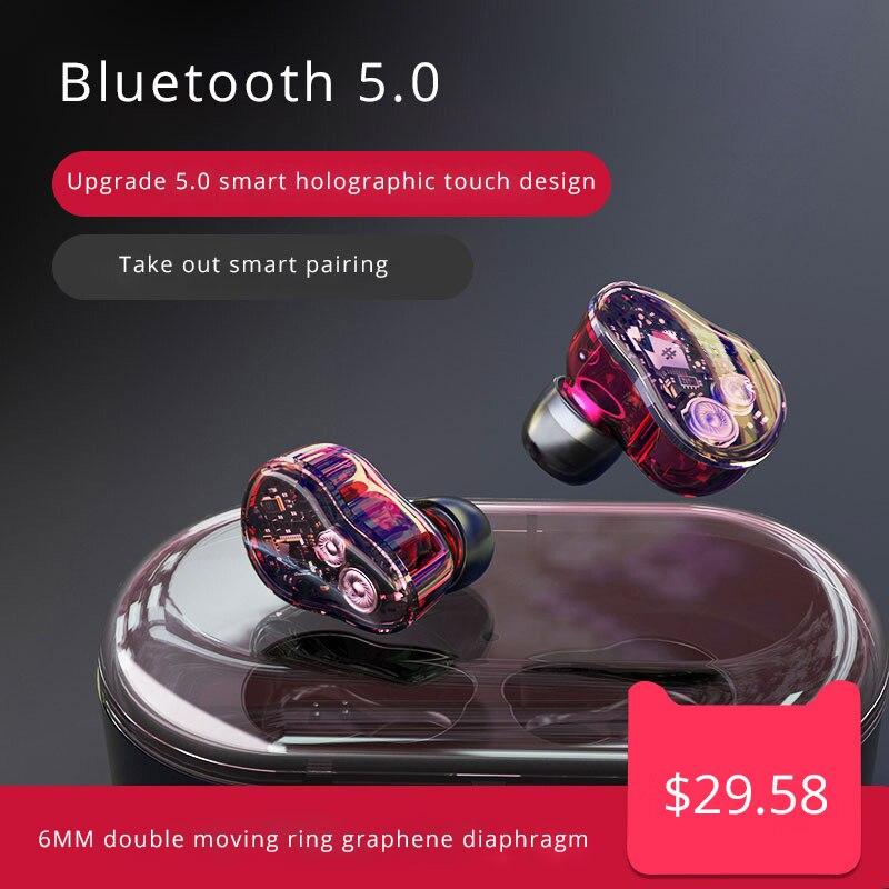 TWS Bluetooth 5.0 Touch Auricolari Corsa e Jogging Auricolare Vero Wireless Bluetooth Stereo Per Cuffie Auricolari Bassi Profondi IPX7 Impermeabile