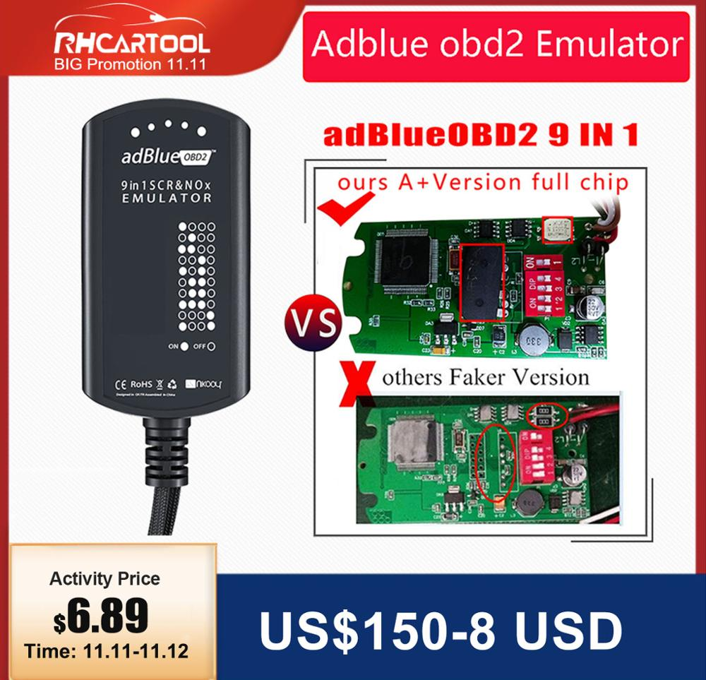 OBD2 Adblue Emulator 9 in 1 Car Diagnostic tool Add for Commins Truck PK adblue 8 in 1 for MAN for Scania for volvo for Renault