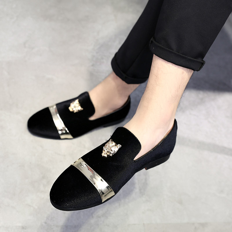 Luxury Golden Metal Decoration <font><b>Shoes</b></font> Elegant Moccasins <font><b>Men</b></font> Casual <font><b>Loafer</b></font> Plus Size Flat Party Club Dress <font><b>Shoes</b></font> ST359 image