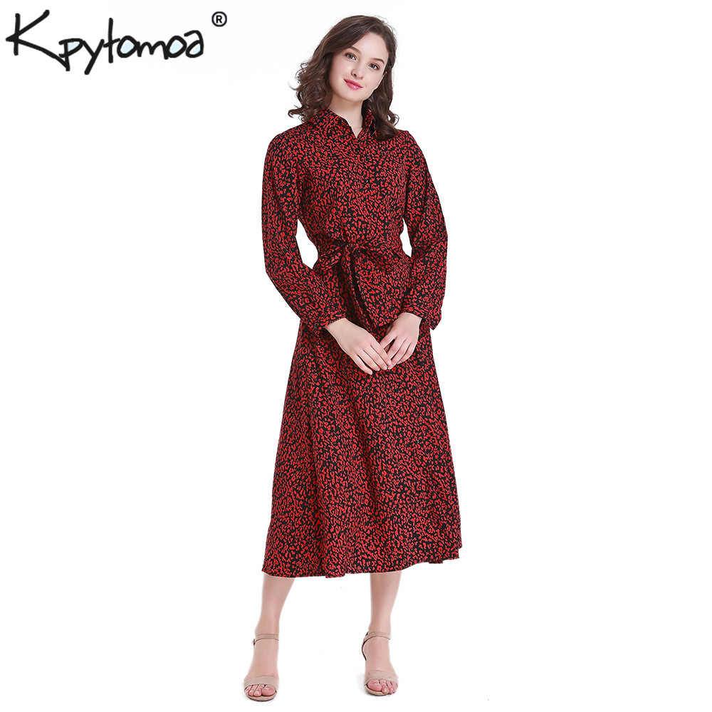 Vintage Leopard Print Ankle Length Dress Women Bow Tie Sashes Long Sleeve Animal Pattern Robe Maxi Dress Casual Vestidos Mujer