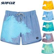 Мужские Меняющие цвет шорты для плавания SURFCUZ, пляжные плавки для плавания, чувствительные к температуре, волшебные быстросохнущие шорты дл...