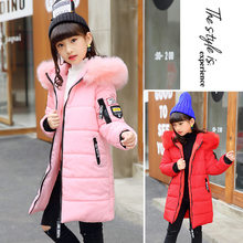 цены Kids Fur Parkas Coat For Teenage Girls Warm Hooded Jacket Coat for Girls Fashion Outerwear Winter Clothes for Children 5-13 Year