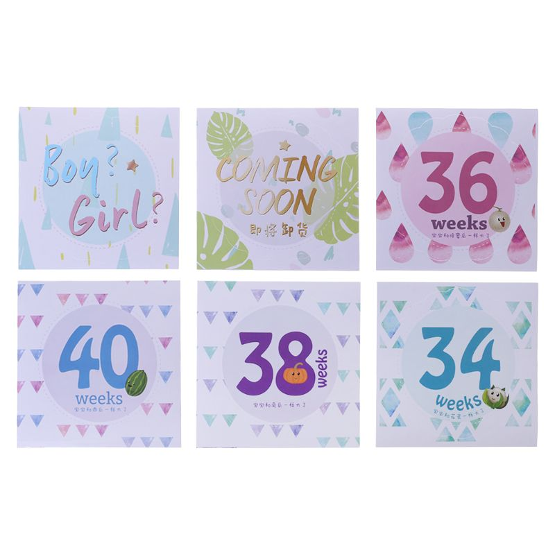 14 14 Pcs/Set Month Sticker Pregnant Women Photography Monthly Adhesive Stickers Landmark Floral Coming Soon Belly Clothing