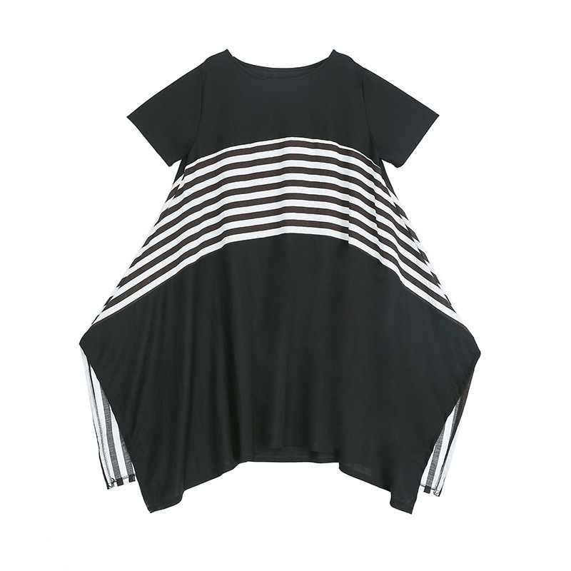 LANMREM Can Ship 2020 Summer Striped Patchwork Round Collar Short Sleeve Dresses Famale Personality Big Size Irregular YJ089