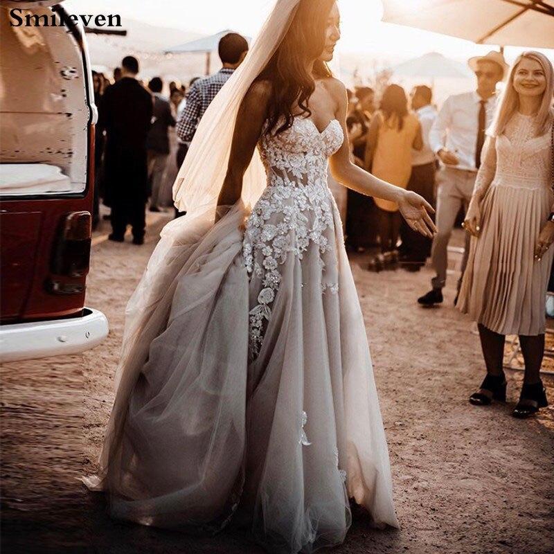 Smileve Boho A Line Wedding Dresses Side Split Strapless Bride Dresses With 3D Flowers Robe De Mariee Wedding Bride Gowns