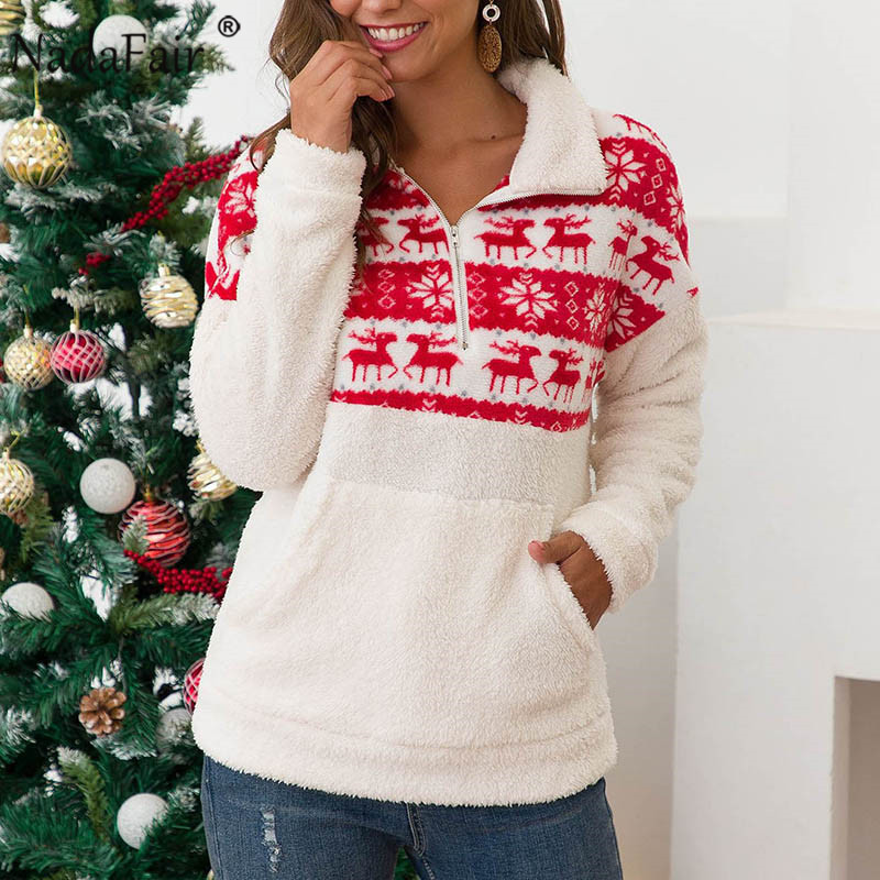 Nadafair Christmas Fluffy Sweater Woman Zip Up Faux Fur Casual Winter Oversized Sweater Jumper Women Pullovers