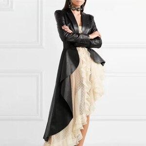 Image 2 - Twotwinstyle puレザー女性のトレンチラペル襟長袖サッシ不規則な裾ウインドブレーカー女性2020ファッション秋