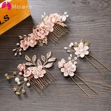Molans 1 поликарбонатный люксовый чехол голубого и розового цвета с цветочным узором расчески для волос головной убор для выпускного вечера корона для невесты аксессуары для волос, золотистый листья украшения для волос