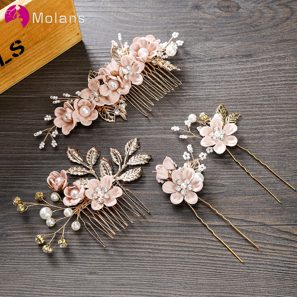 Molans 1PC Luxury Blue Pink Flower Hair Combs Headdress Prom Bridal Wedding Crown Hair Accessories Gold Leaves Hair Jewelry