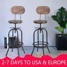 IKayaa промышленный стильный барный стул, регулируемый по высоте Поворотный кухонный стул из соснового дерева, металлический барный стул со спинкой, склад США
