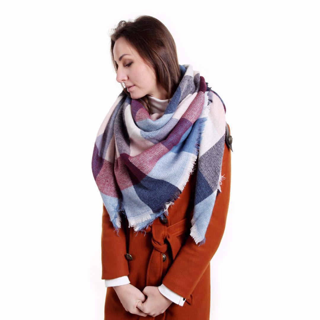 Autumn And Winter New Style Europe And America-Style Mixed Colors Plaid Faux Cashmere Scarf Thick Oversized Kerchief Shawl Doubl