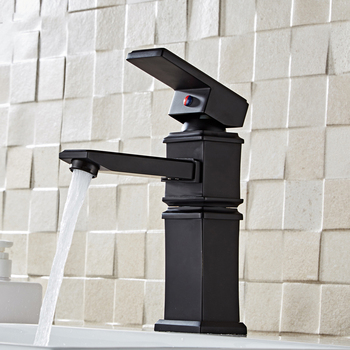 Black/White Brass Bathroom Basin Faucets Single Handle Deck Mounted Tap Cold and Hot Water Mixer Sink Tap