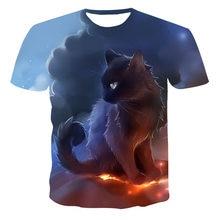 Camisetas 3D de manga corta con cuello redondo para hombre, niño, padre e hijo, gato, León, Tigre, ratón, novedad de verano, alta calidad