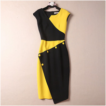 Women office wear plus size dress sleeveless color block patchwork black yellow sheath sexy dresses XXL new 2019 autumn