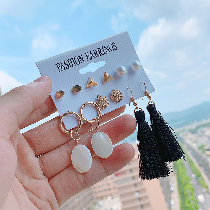 2019 Fashion Jewelry Girl Earing Long Tassel Earrings Set 6Pair/Set Pearl Triangle Shell Charm Drop Earring Sets For Women