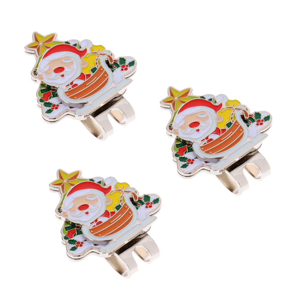 Premium 3 Pieces Santa Claus Magnetic Hat Clip Golf Ball Markers Golfer Christmas Gift Presents