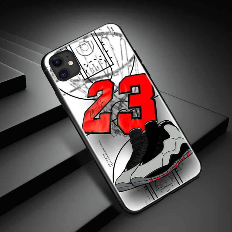 마이클 조던 No. 23 농구 아이폰 SE 6 6s 7 8 플러스 x xr xs 11 프로 최대 강화 유리 전화 케이스 커버 소프트 실리콘