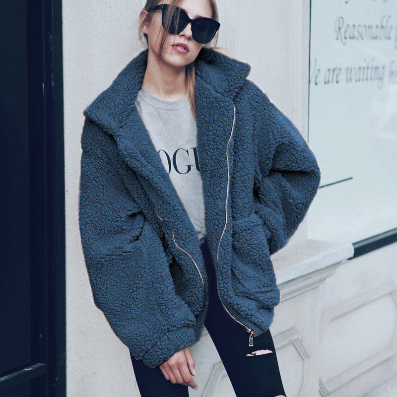 H8669c78b4c0842019cac115f388d44bfN Autumn Winter Faux Fur Coat Women 2020 Casual Warm Soft Zipper Fur Jacket Plush Overcoat Pocket Plus Size Teddy Coat Female XXXL