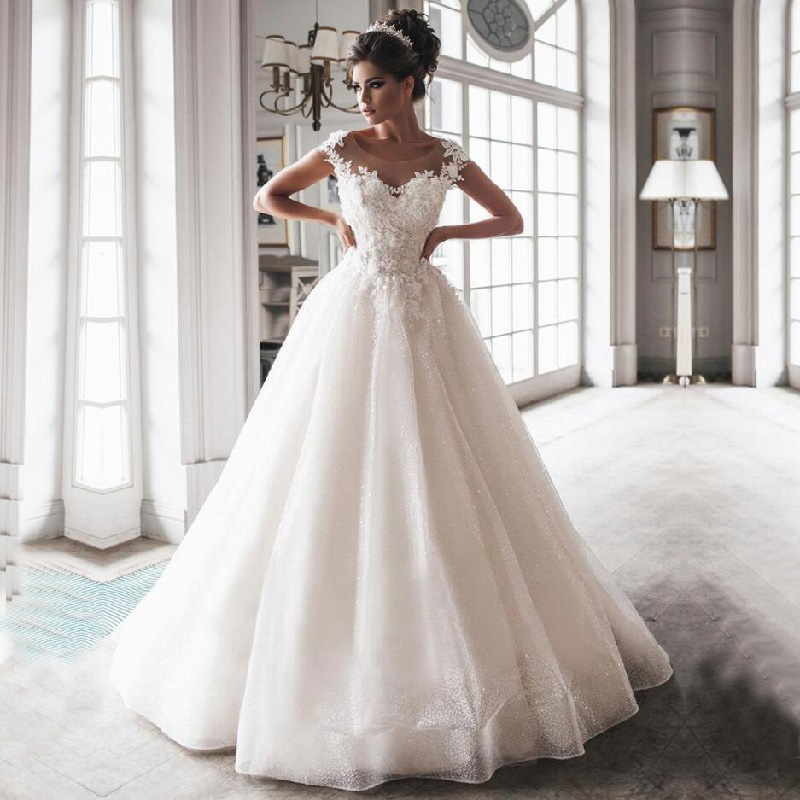 Exquisite Scoop Neck Wedding Dress Boho Robe Mariage Lace Appliques Back Lace Up Bridal Dress A Line Sequins Wedding Gowns