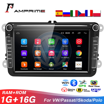 AMPrime Car Multimedia player 8 Android GPS Autoradio 2 Din USB Wifi For Volkswagen/VW/ Passat/POLO/GOLF/Skoda/Seat/Leon Radio image