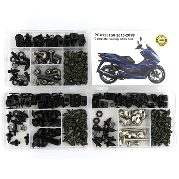 For Honda PCX125 PCX 150 2015 2016 2017 2018 Complete Full Fairing Bolts Kit Screws Clips Speed Nuts Covering Bolts Steel for yamaha tmax 530 tmax530 2012 2019 complete full fairing bolts kit bodywork screws steel clips speed nuts covering bolts