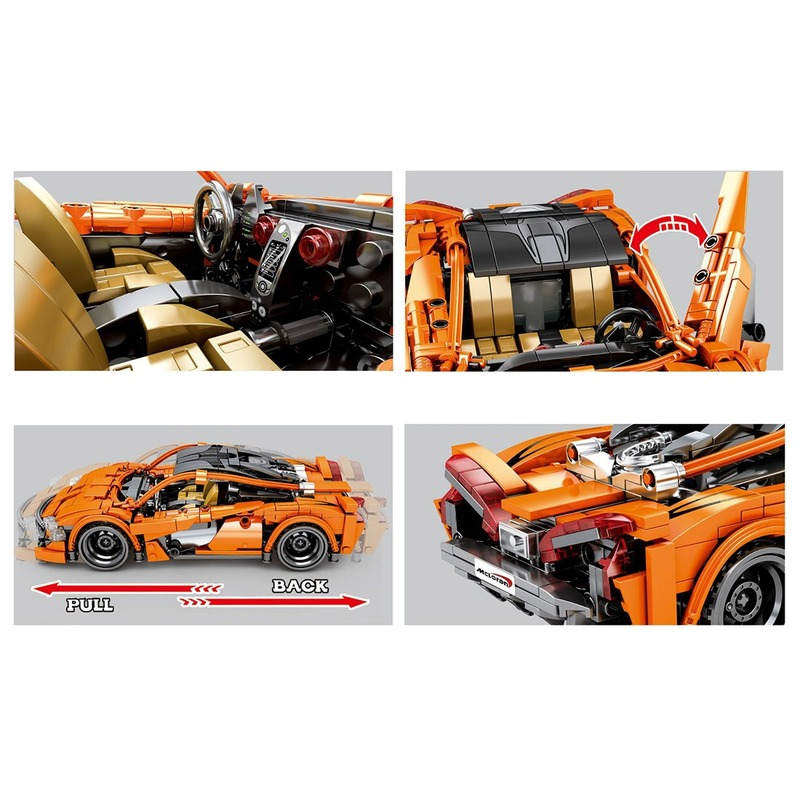 Pull Back Sports Car Racing Vehicle Building Block Model DIY Construction Model lepinblock technic Toy Gift For Kid Adult