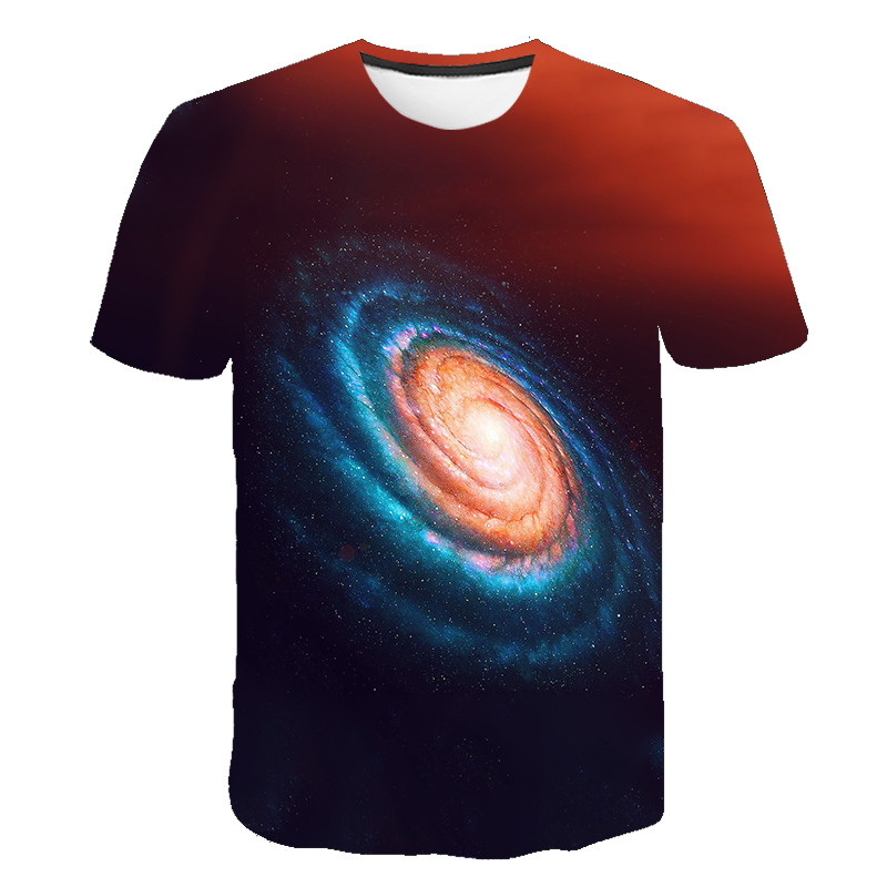 Galaxy T-<font><b>Shirt</b></font> 2020 Summer Universe Starry Sky T-<font><b>shirt</b></font> 3D Printed Pattern Male / Female Top <font><b>6</b></font>-<font><b>XL</b></font> Free Shipping image