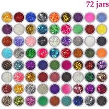 72 pots holographique ongle paillettes Ultra-mince Laser paillettes pour Nail Art décoration hexagone étincelle ongle paillettes flocon Paillette #