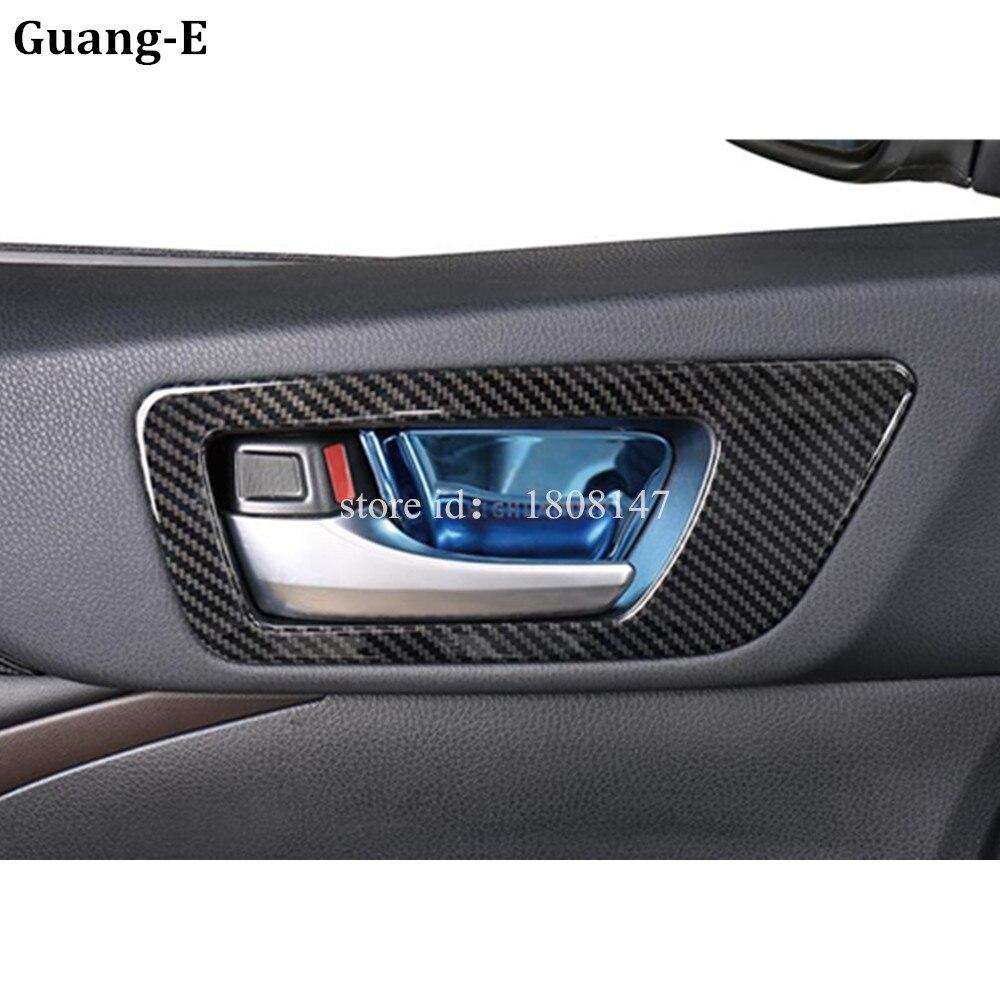 For Toyota Highlander 2018 2019 2020 Car Sticker Detector Trim Carbon Fiber Internal Door Bowl Lamp Frame Armrest Parts 4pcs