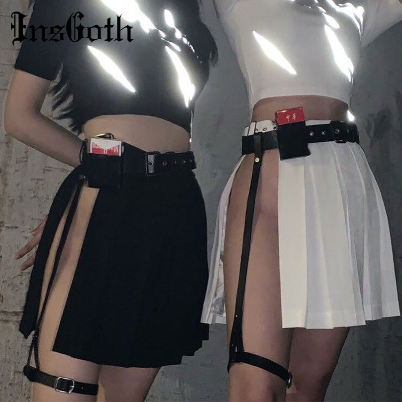InsGoth Harajuku Grunge Punk Style Black Solid Pleated Skirt Women Asymmetric High Waist Skirt Girl Gothic Punk Streetwear Skirt