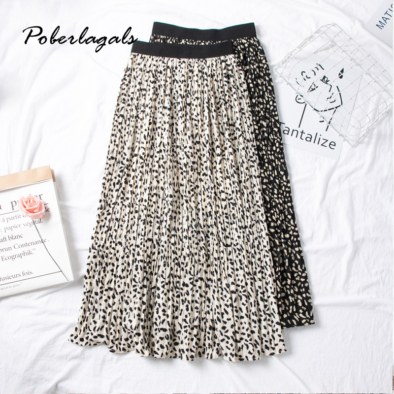 Summer Women Vintage Elegant Leopard Skirt 2020 Korean Lady Wild Print High Waist Pleated Skirts Womens Casual Skirts Female