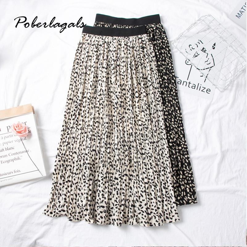 Summer Women Vintage Elegant Leopard Skirt 2020 Korean Lady Wild Print High Waist Pleated Skirts Womens Casual Skirts Female