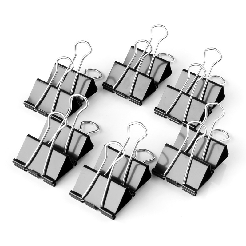 Wholesale Deli 9541 Binder Clip Black And White With Pattern Binder Clip 50mm Dovetail Clip Wallet 12/Box Boxed