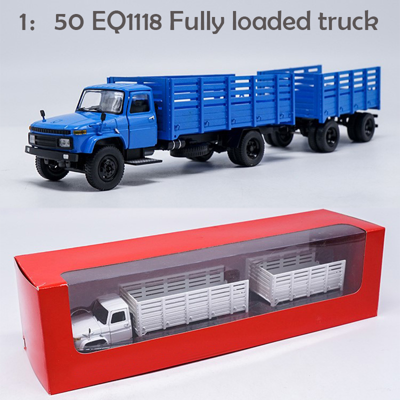 1:50 EQ1118  Fully Loaded Truck  Towing Platform Car  Alloy Truck Model
