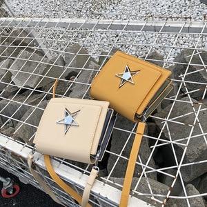 Image 4 - OLUOLIN Yellow five pointed star Lock Leather Shoulder Crossbody handbag Messenger Purse Flap PU Leather Travel Bags Shoulder