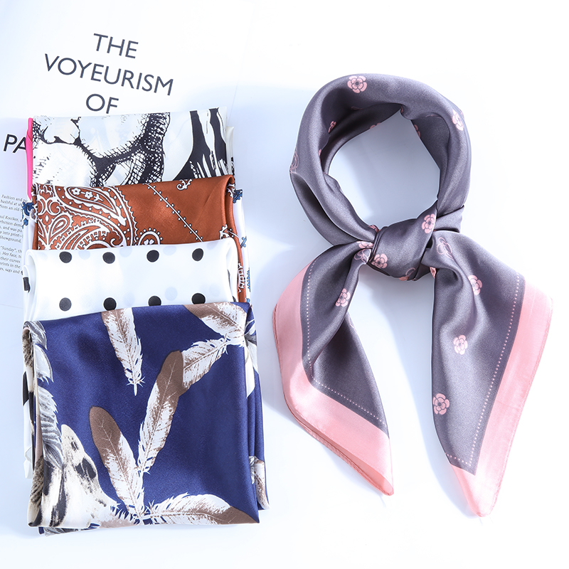 【70*70cm】Fashion Women Scarf Multifunctional  Patterns Print Style Silk Scarves Hair Tie Headscarf Square Neck Scarfs For Ladies
