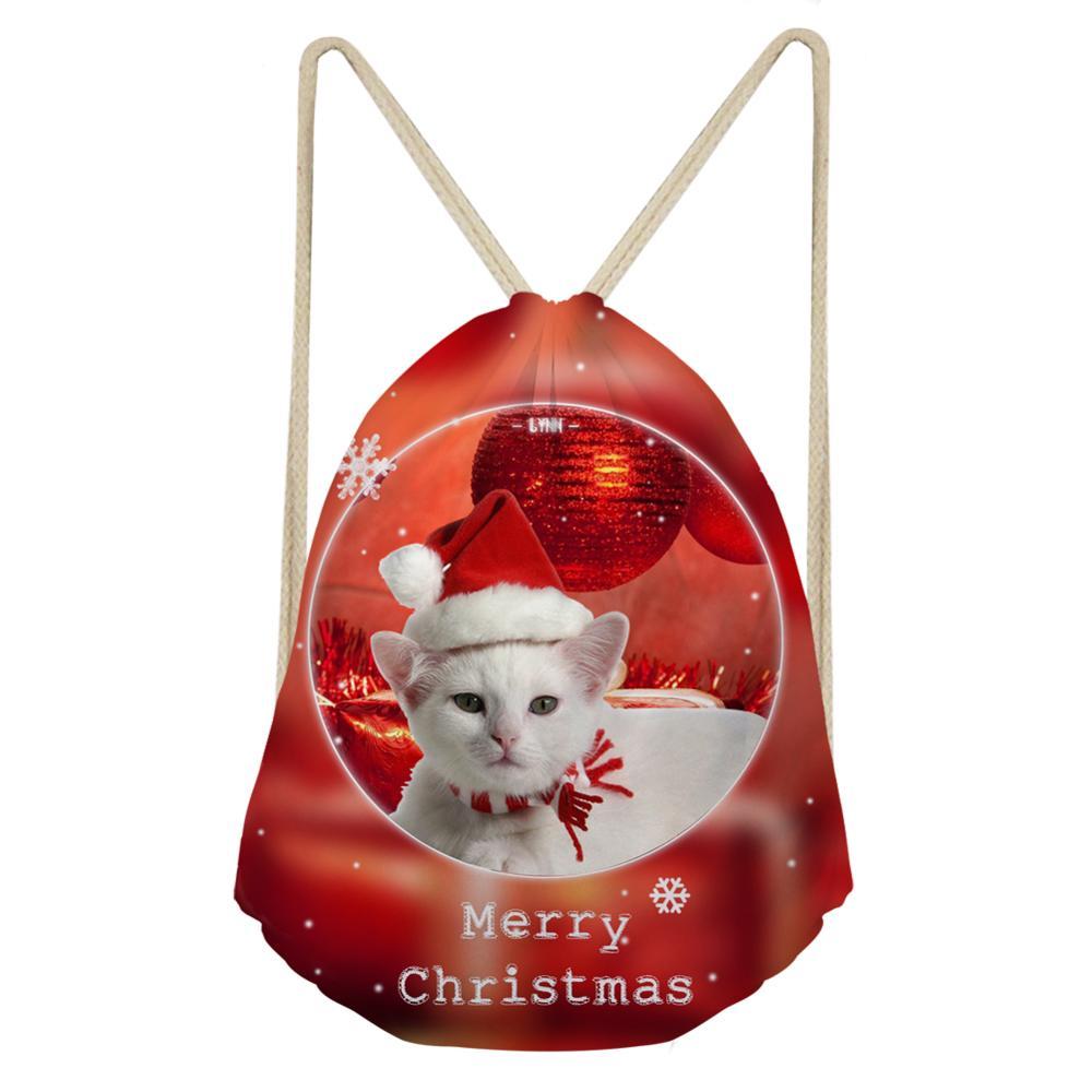 Women Backpack Christmas Custom Cat 3D Print Drawstring Bag Kids Small School Backpack For Girls Rucksack 2019 Red
