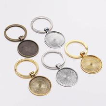 5pcs/lot Keychain With Pendant Bezel Blank Fit 25mm Cameo Glass Cabochon Base Setting DIY Keychain Key ring Supplies For Jewelry 10pcs fit 25mm stainless steel cabochon base diy blank cameo pendant bezel settings diy jewelry necklace trays