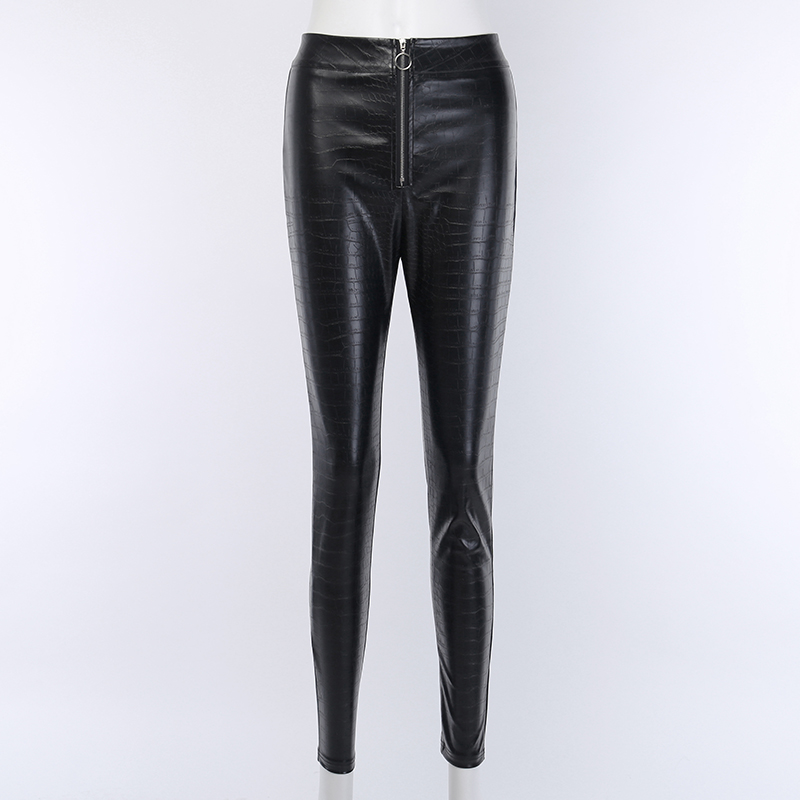 H866a9cd105ff4009a8c597ce0950a2866 - InstaHot Elegant High Waist Faux Leather Pants Women Pencil Skinny Pants Office Ladies Trousers Casual Slim Black Capris