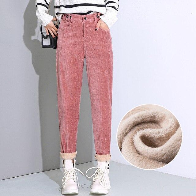 סתיו החורף גבוהה מותן קורדרוי הרמון מכנסיים נשים בתוספת גודל רופף שחור מכנסיים נשים ארוך בתוספת קטיפה מכנסיים טרנינג C5803