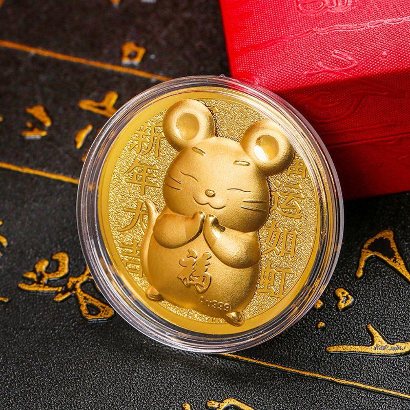 Новогодняя памятная монета крысы 2020, китайский сувенир зодиака, талисман, монеты мыши с подарочной сумкой
