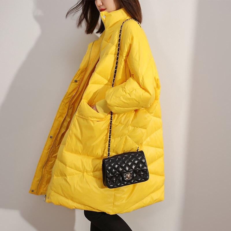 High Quality Women Down Jacket 2019 New Arrival Long Loose White Duck Down Jacket Long Down Parka Female Warm Winter Coat Women
